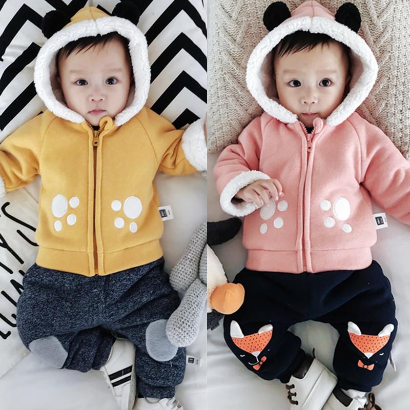 婴儿卫衣加绒冬季宝宝加厚保暖外套新生儿男宝宝01岁女外出服冬装 发货周期:一般在付款后2-90天左右发货,具体发货时间请以与客服协商的时间为准