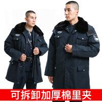 男冬季加厚棉服可拆卸夹层内胆防寒服小区物业保安服防风衣