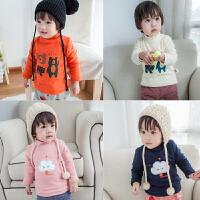 婴儿冬季长袖上衣加绒保暖高领宝宝卡通优质打底衫0-1岁套头内衣