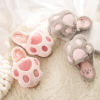 棉拖鞋女冬季包跟厚底室内防滑居家保暖软底韩版可爱毛毛拖鞋冬