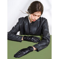 女士户外真皮手套加绒加厚保暖触屏短款蝴蝶结羊皮骑行开车