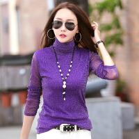 长袖女式t恤女新款纯色亮丝上衣修身套头韩版女式打底衫