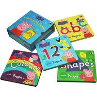 小猪佩奇 英文原版绘本 Peppa Pig ABC 123 Colours Shapes 纸板书 4册合售 粉红猪小妹 启蒙认知绘本