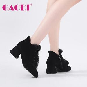 高蒂裸靴女粗跟新款方头短靴羊皮反绒英伦时装靴高跟毛毛靴子女