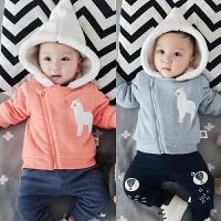 冬季婴儿衣服加绒上衣男宝宝卫衣斜拉链女小童外套01岁满月外出服