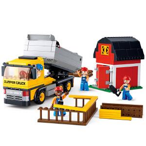 【当当自营】小鲁班工程系列儿童益智拼装积木玩具 翻斗车M38-B0552