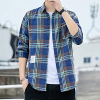 可格子衬衫男长袖韩版休闲衬衣青年帅气寸衫潮