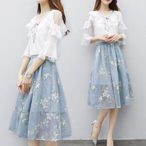 【班图诗妮】2018新款女装夏修身中长款连衣裙女雪纺荷叶边中袖网纱刺绣裙套装