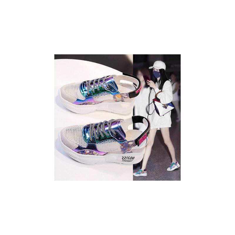 户外时尚凉鞋女运动百搭网面透气厚底内增高ins潮鞋