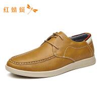 红蜻蜓男鞋时尚软皮软底皮鞋英伦男韩版牛皮商务正装休闲鞋-