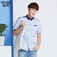 森马短袖衬衫 夏装 男士方领格子拼接直筒男装衬衣韩版潮