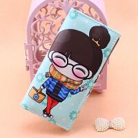 彩印娃娃女孩韩版卡通零钱包长款学生时尚潮女压花大钞位卡位钱夹 娃娃1