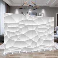 屏风隔断客厅欧式简易移动折叠卧室餐厅隔间双面布艺简约现代3d 8扇 (高2米宽3米2)