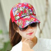 韩版棒球帽女士遮阳帽太阳帽女防晒帽防紫外线女碎花帽子女
