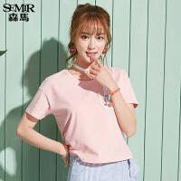 森马短袖T恤女2017夏装新款半袖上衣韩版百搭学生弹力字母体恤潮