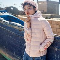 【狂欢不打烊,3折到手价:324】裂帛轻薄羽绒服女2019冬季新款刺绣连帽长袖白鸭绒小个子短款外套