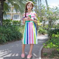 女童沙滩裙儿童彩虹条纹海边度假中长裙公主连衣裙子中大童中童装