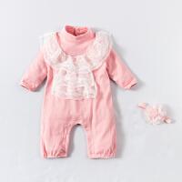 婴儿连体衣服宝宝新生儿季0岁3个月冬季满月春装长袖连体衣
