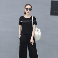 2018新款韩版圆领短袖阔腿裤棉麻休闲套装女夏修身显瘦时尚两件套 黑色 M 建议95斤左右