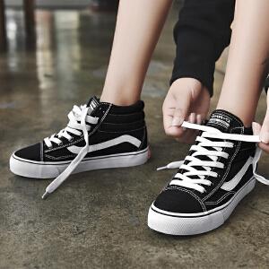 【年终特惠】Q-AND/奇安达2018新款男女情侣款中高帮帆布鞋舒适透气耐磨硫化板鞋