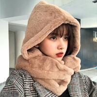 帽子女冬天时尚韩版户外保暖加厚冬季骑车防风围巾一体毛绒可爱雷锋帽