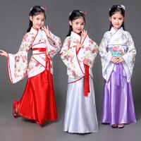 儿童古装汉服正规曲裾女童古筝汉唐舞蹈演出服拍摄影写真服装新款