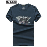 吉普JEEP短袖T恤男夏季新款男装户外休闲印花t恤男士宽松大码圆领打底衫