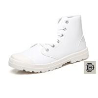 春季男士皮鞋英伦高帮男鞋学生鞋子休闲鞋板鞋系带潮鞋织带鞋