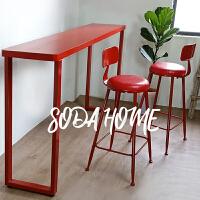北欧咖啡店店简易吧台实木家用靠墙窄桌子窗台桌椅红色长条桌 组装 其他结构