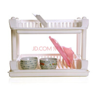 实用双层碗碟收纳架/沥水架 餐具沥水架置放架 碗架(A223)