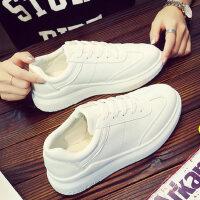 保暖毛毛鞋学生白色休闲鞋女新款棉鞋女厚底小白鞋加绒运动鞋