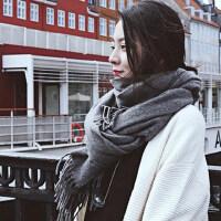 韩版百搭学生两用披肩围巾女 新款纯色围巾女士多功能保暖女士流苏围脖