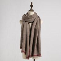 羊毛围巾细条纹女士户外长款韩版百搭加厚保暖披肩两用