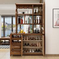 实木玄关隔断柜小户型酒柜屏风柜间厅柜双面现代中式客厅进门鞋柜 1.3米 榉木色 组装 框架结构