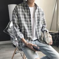 男士衬衣2017新款长袖男衬衫格子修身韩版潮流帅气秋季寸衫外套
