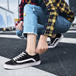 【年终特惠】Q-AND/奇安达2018新款经典低帮耐磨透气四季百搭休闲男生帆布鞋板鞋
