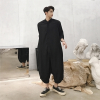 男连身连衣裤夏季薄款韩版直筒宽松七分裤日系原宿风工装连体裤
