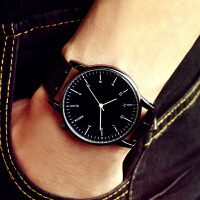 女士手表时尚潮流防水石英女表皮带学生韩版简约大气男表情侣手表