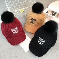 儿童帽子秋冬大黑毛球字母加厚棒球帽宝宝保暖帽鸭舌帽潮