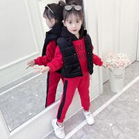 韩版洋气儿童加厚时髦潮女童三件套冬装加绒卫衣套装秋装