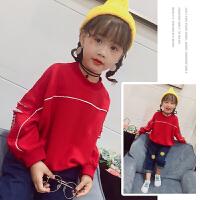 女童卫衣春秋儿童女款长袖2018新款韩版小孩上衣红色纯棉百搭春款