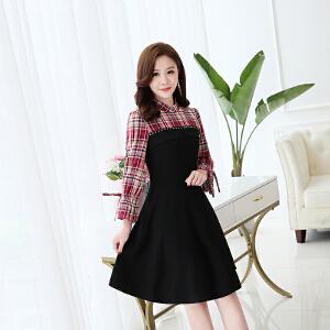 秋季连衣裙女长袖2018新款韩版中长款秋装气质雪纺格子少女心裙子
