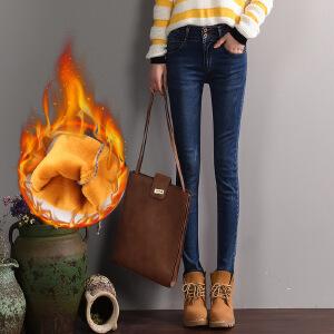 新款女式牛仔裤韩版中腰显瘦女士秋冬保暖加绒弹力小脚裤子