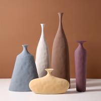 0182北欧艺术素胚陶瓷花瓶几何不规则纹理创意莫兰迪样板房工艺品摆件