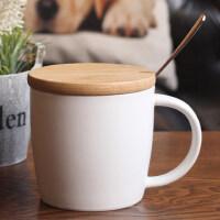 简约陶瓷杯子马克杯带盖勺大口容量燕麦片早餐杯子牛奶办公家用杯