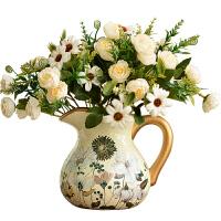 家居装饰摆件仿真花艺干花插花美式陶瓷客厅小花瓶欧式电视柜餐桌