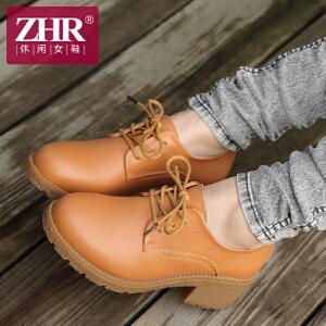 ZHR2017春季新款英伦女鞋粗跟单鞋女厚底鞋中跟防水台休闲女鞋G20