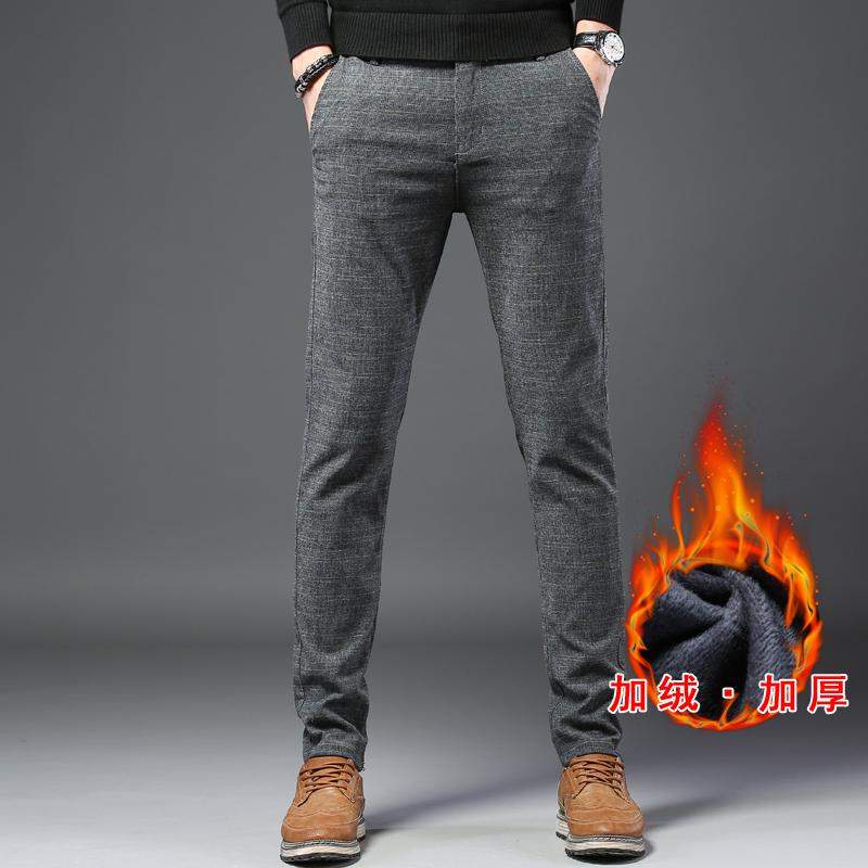 加绒加厚保暖 男士格子加绒加厚休闲裤商务休闲西裤直筒裤