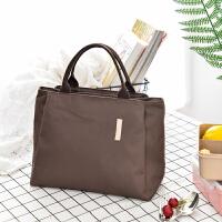 纯色多功能保温包妈咪包买菜包手拎袋饭盒包便当包大容量帆布手拎 咖啡
