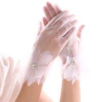 优雅白色蕾丝花边水钻短款薄手套纯色韩式结婚新娘婚纱礼服